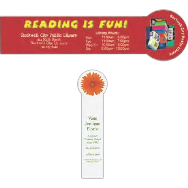"Bookmark Made Of 14 Points Thick White Material Features A Circle Top, 2 1/8"" X 8"" Photo"