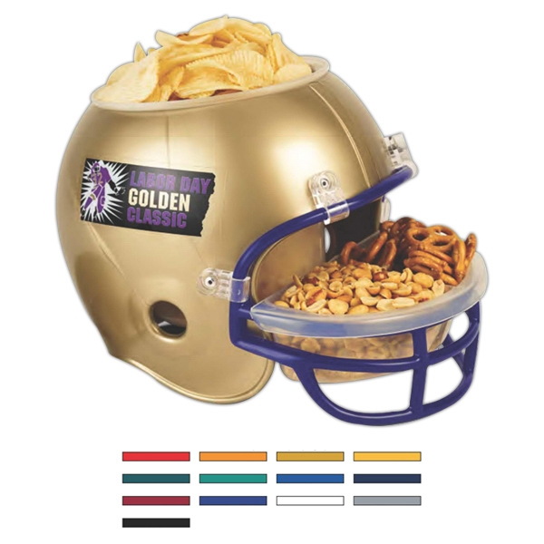 Football Helmet Shaped Snack Tray With Plastic Bucket In Center Photo