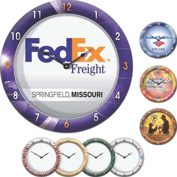 "Wall Clock 10 3/4"" Diameter With Full Color Imprinted Case Photo"