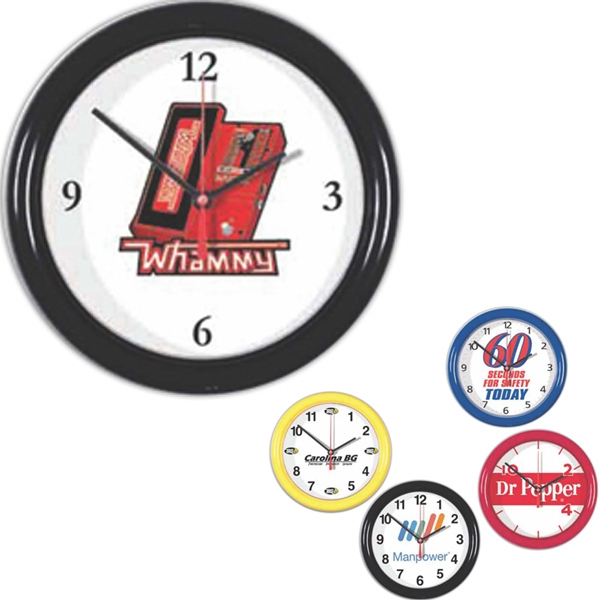 "Wall Clock 8 1/2"" Diameter With Clear Lens Photo"
