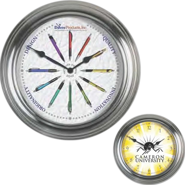"Metal Bright Silver Wall Clock, 13 3/8"" Diameter, With Clear Lens Photo"