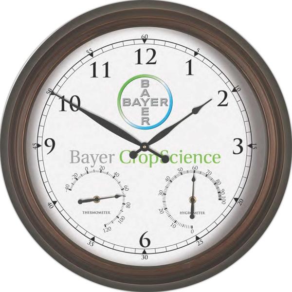 "Metal Wall Clock, 22"" Diameter With Glass Lens Photo"