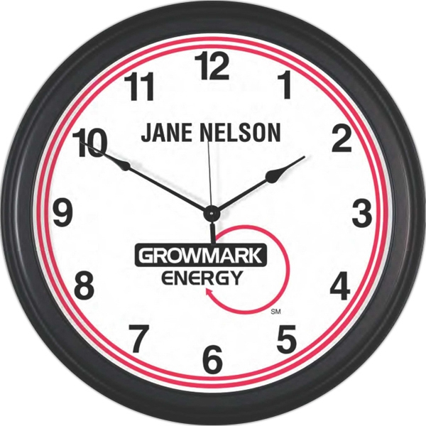 "Metal Wall Clock 18"" Diameter With Glass Lens Photo"