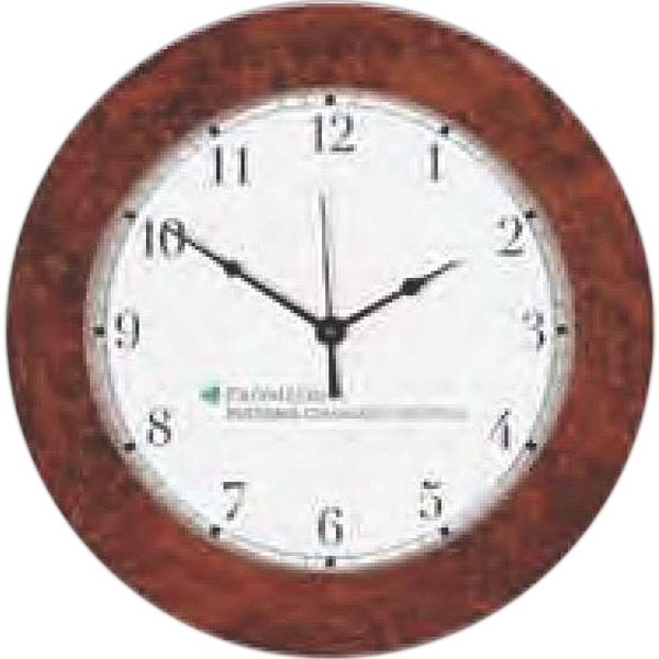 "Simulated Burl Wood Wall Clock-11 1/2"" Diameter. Clearance. While Supply Lasts Photo"