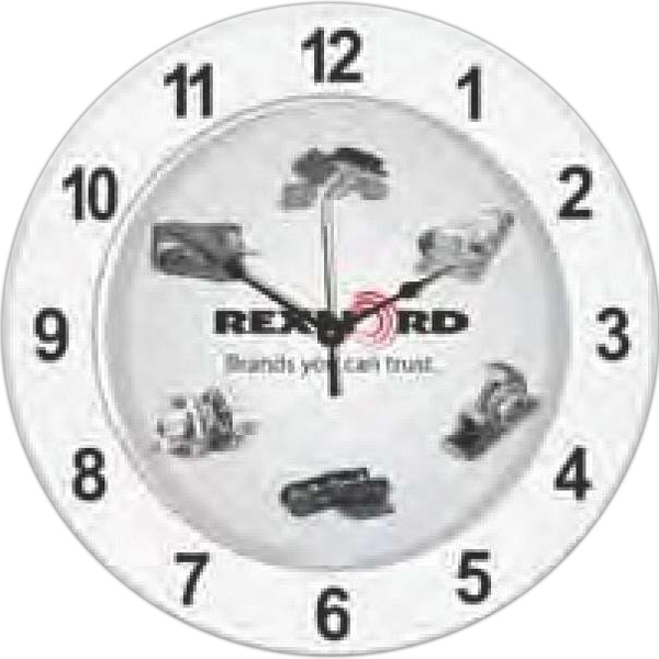 "Wall Clock, 11 3/4"" Diameter With Clear Lens. Clearance. While Supply Lasts Photo"