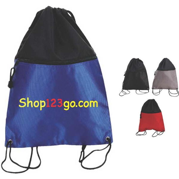 Deluxe Doby Nylon Drawstring Backpack With Nylon Rope Type Shoulder Straps Photo
