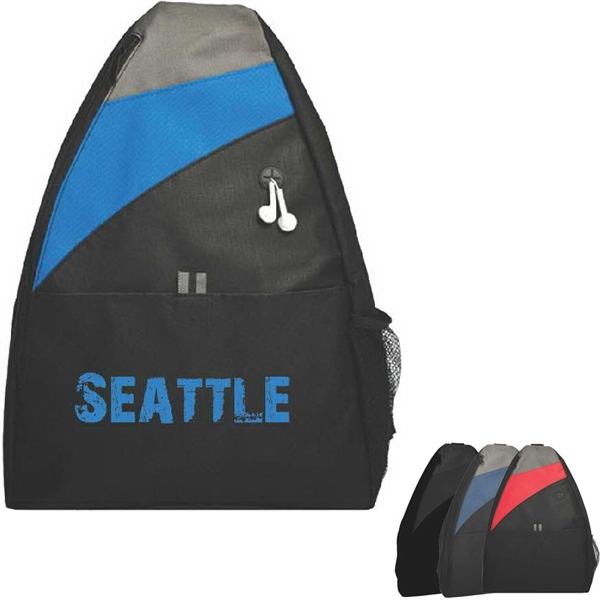 Single Strap Backpack With Zippered Main Compartment And Side Mesh Pocket Photo