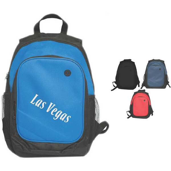Action Travel Backpack With Double Zippered Compartment And Two Side Mesh Pockets Photo