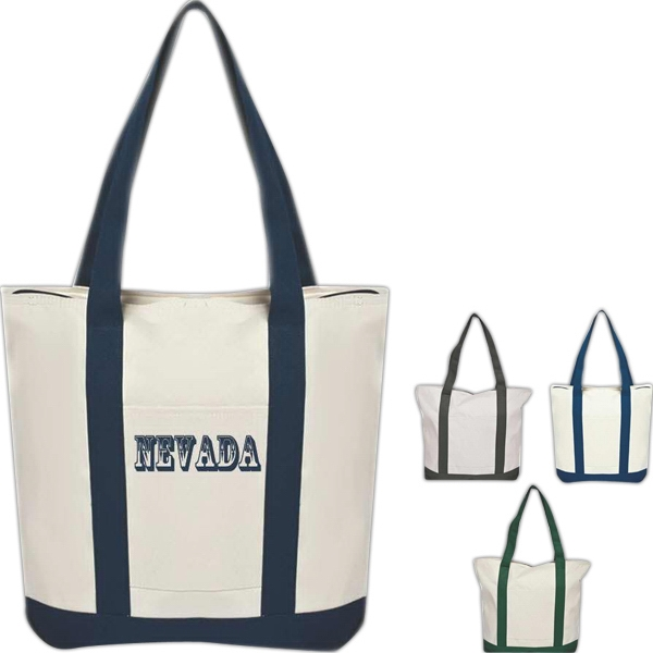 Canvas Tote With Zippered Compartment And Front Open Pocket Photo