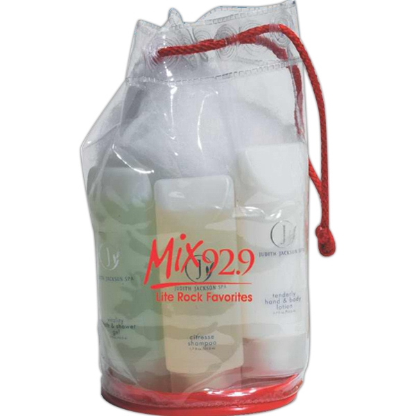 Clear Vinyl Drawstring Amenity Bag With Contrasting Colored Base Photo