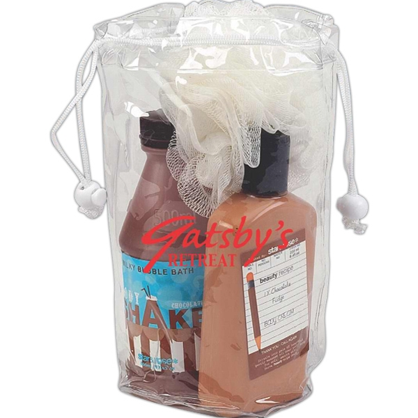 "Clear Drawstring Amenity Bag, 4"" X 9"" Photo"