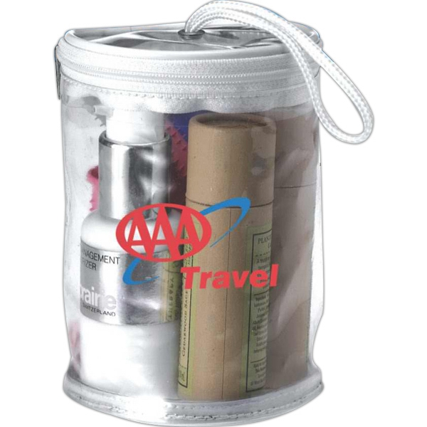 Cosmetic Or Amenity Zippered Tote Made From Clear Vinyl With White Trim Photo