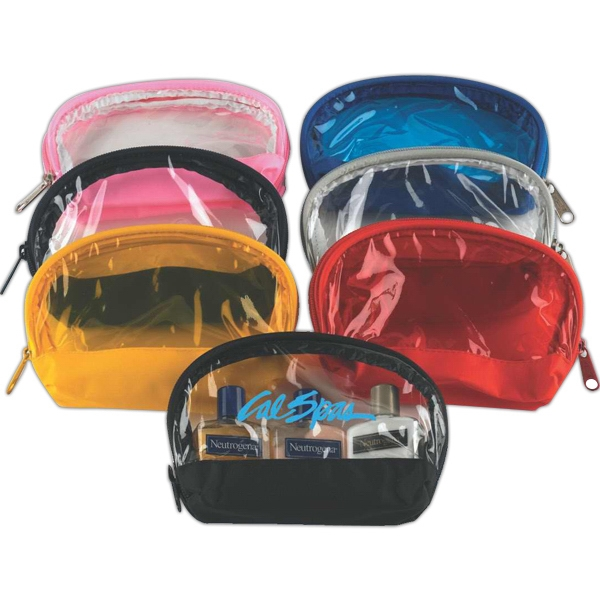 Zippered Colored Translucent Vinyl Cosmetic Bag In Fun Colors Photo