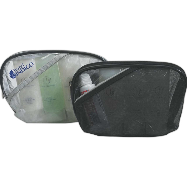 Clear Zippered Vinyl Cosmetic Bag With Contrasting Mesh Photo