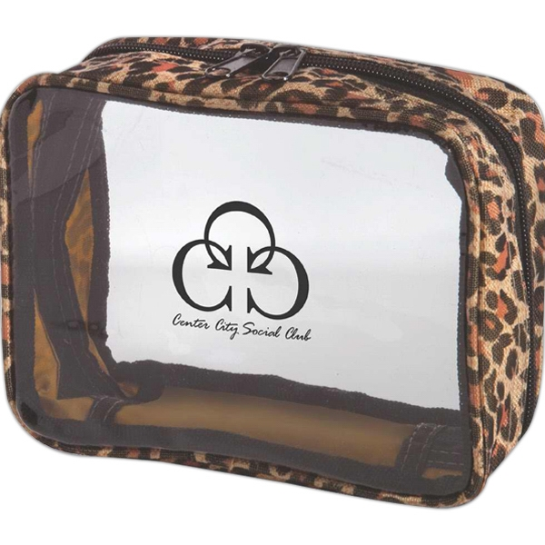 Clear Pvc And Nylon Amenity Bag With Leopard Print Trim Photo