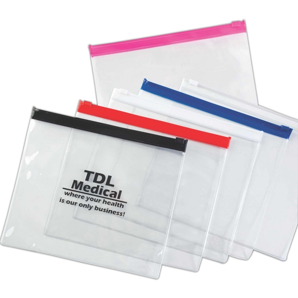 Tsa Compliant Quart Size, Zip-lock, Clear Pvc Bag With Trendy Colored Accent Photo
