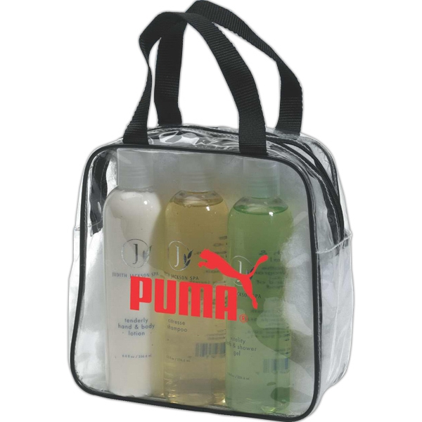 Clear Pvc Travel Bag With Zippered Closure And Nylon Webbed Handles Photo