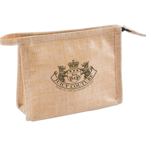 Natural Jute Amenity Bag With Zipper Closure And Coated With Water Resistant Tpu Photo