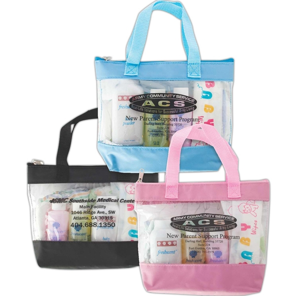 Mini Vinyl Tote Bag With Lotion, Powder, Shampoo, Two Wipes And One Medium Diaper Photo