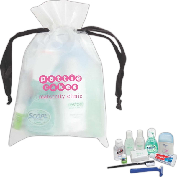 Drawstring Eva Bag With Deodorant, Lip Balm, Shampoo, Lotion And Soap And More Photo