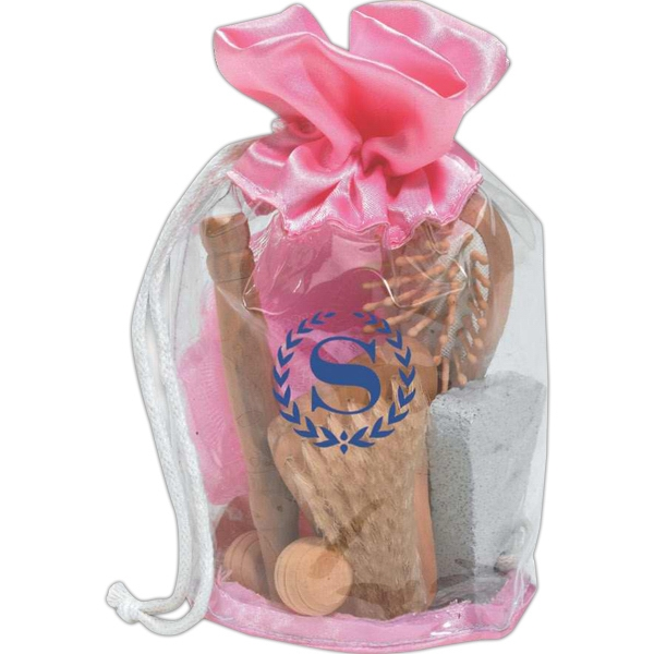 Spa Set In A Pvc Bag With Pink Drawstring Photo