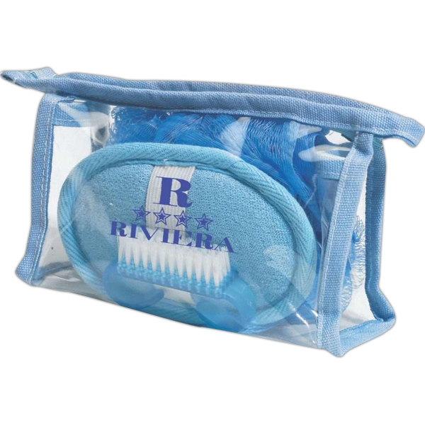 Spa Set. Pvc Bag With Exfoliator Scrub, Loofah And Finger Nail Brush Photo