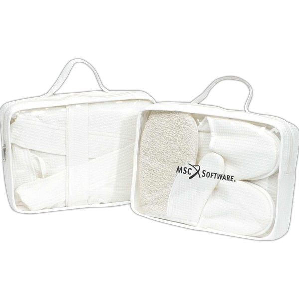 Bathrobe And Slipper Set In Clear Pvc Pouch With Cream Accent Photo