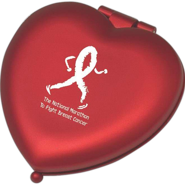 Red Metal Heart Shaped Compact Mirror Photo
