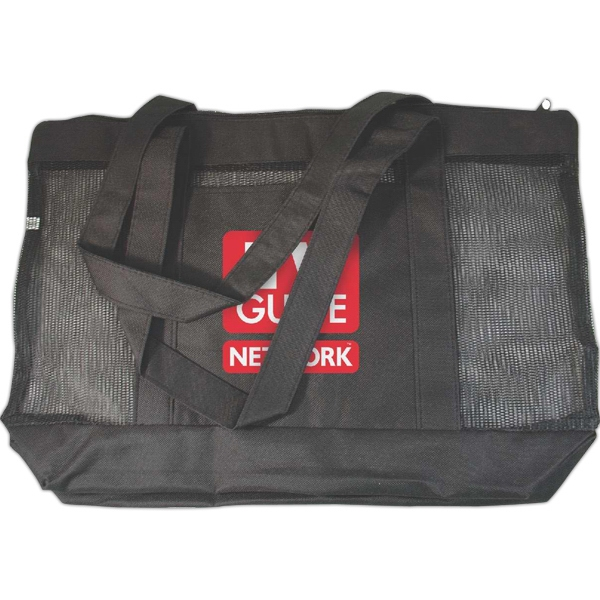Mesh Zipper Tote Made Of 600 Denier Polyester With Pvc Backing And Nylon Mesh Photo
