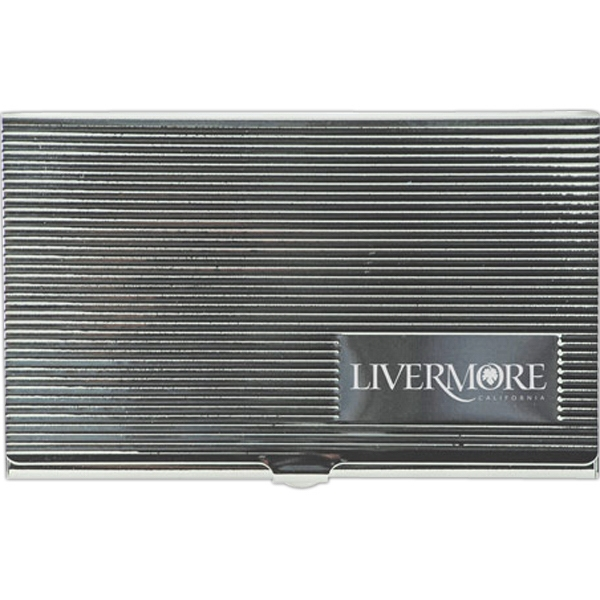 Metal Business Card Case With Stripe Pattern Lid Photo