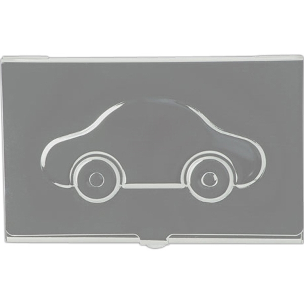 Metal Business Card Case With Embossed Car Image On Lid Photo