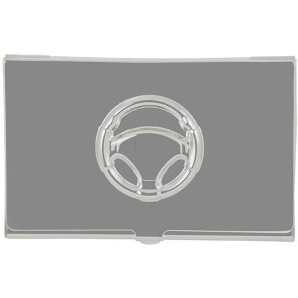 Metal Business Card Case With Embossed Steering Wheel On Lid Photo