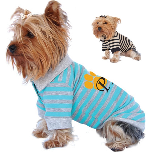 Striped Dog Polo Shirt, Cotton And Poly Blend Fabric Photo