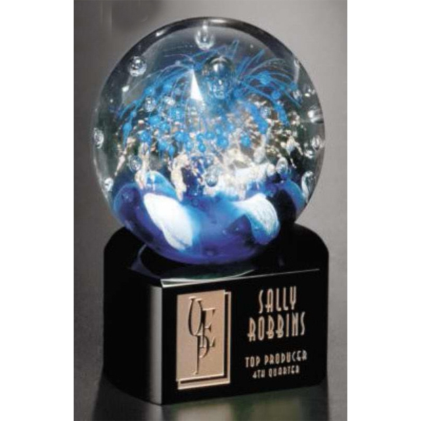 "Celebration (tm) Art Glass Gallery - Award Made Of Art Glass With Black Glass Base, 3 1/2"" X 5 1/2"" Photo"