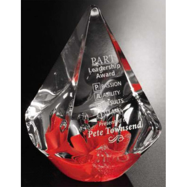 "Quatro Pyramid Art Glass Gallery - Red Pyramid Shaped Art Glass Award, 3"" X 5 1/2"" X 3"" Photo"