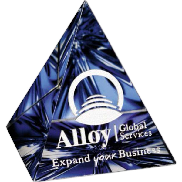 "Illumachrome (tm) Gallery - 3"" X 3 1/4"" X 3"" - Award In Pyramid Shape, Made Of Optical Crystal Photo"