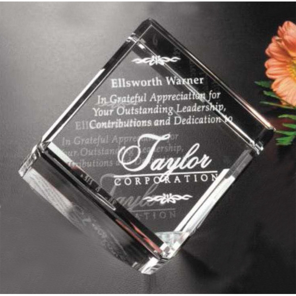 "Clipped Cube Pristine Gallery - 3"" X 3"" X 3"" - Cube Shaped Award Made Of Optical Crystal Photo"