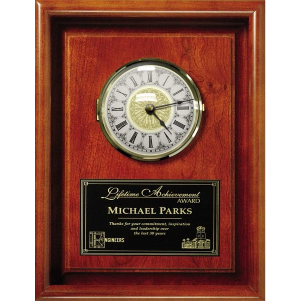 Americana Wall Plaque Gallery - Framed Wall Clock Made Of Cherry Wood Photo