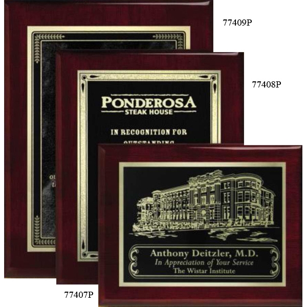 "Aberdeen Wall Plaque Gallery - 7"" X 9"" - Rosewood Laser Plaque With Piano Finish Photo"