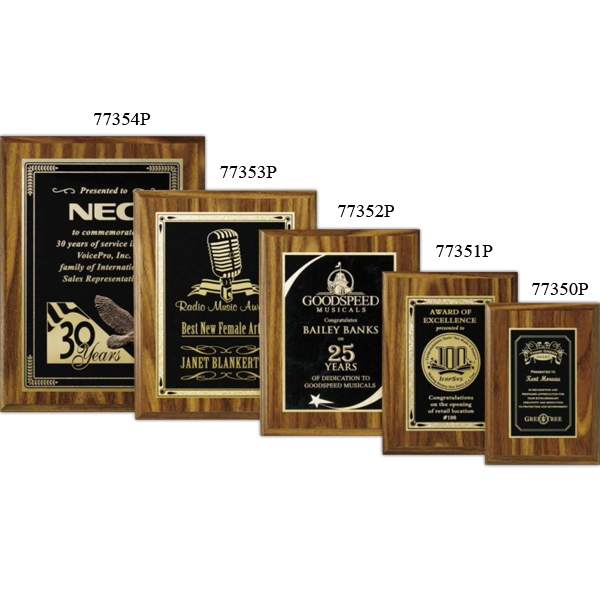 "Econo Wall Plaque Gallery - 5"" X 7"" - Plaque With Walnut Laminate Finish, Made Of Composite Wood Photo"