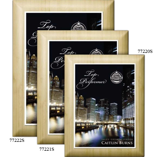 "Wall Plaque Gallery - Blond Bamboo Plaque With A 5"" X 7"" Sublimated Plate Photo"