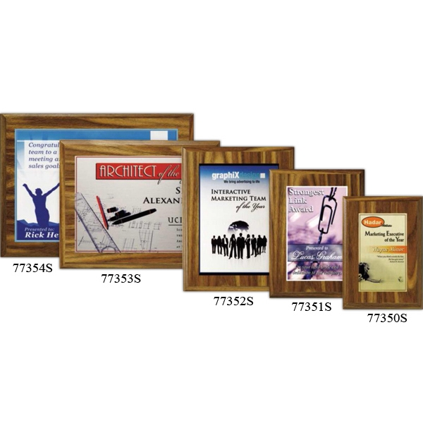 "Econo Wall Plaque Gallery - 7"" X 9"" - Plaque With Walnut Laminate Finish, Made From Composite Wood, With Sublimated Plate Photo"