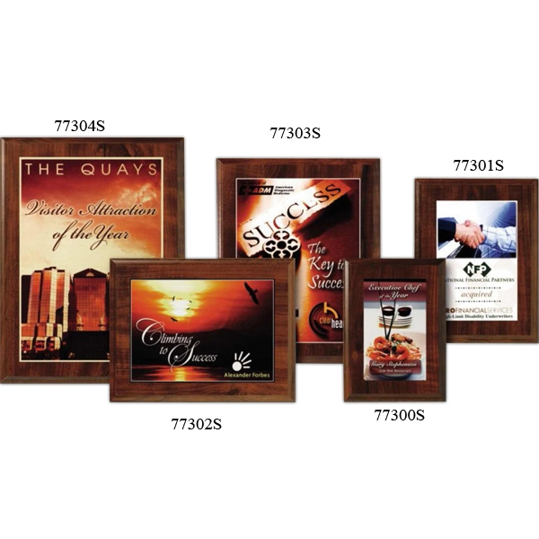 "Econo Wall Plaque Gallery - 7"" X 9"" - Plaque With Cherry Laminate Finish, Made From Composite Wood, With Sublimated Plate Photo"