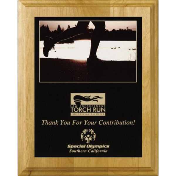 "Wall Plaque Gallery - 8"" X 10"" - Plaque With Alder Wood Natural Finish And Sublimated Plate Photo"