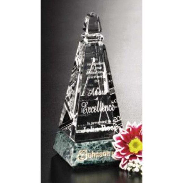 "Verde Gallery Virden Peak - Peak Award Made Of Green Marble And Optical Crystal, 2 1/2"" X 6 1/4"" X 2 1/2"" Photo"