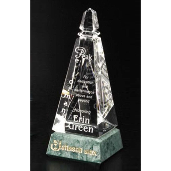 "Verde Gallery Virden Peak - Peak Award Made Of Green Marble And Optical Crystal, 3 1/4"" X 8 1/4"" X 3 1/4"" Photo"