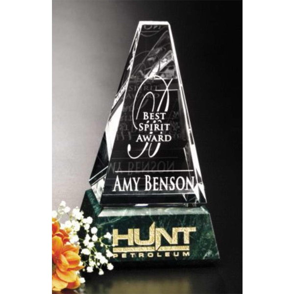 "Verde Gallery Varnell Peak - Peak Award Made Of Green Marble And Optical Crystal, 4"" X 7"" X 2 3/4"" Photo"