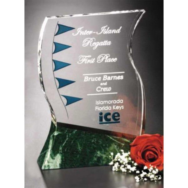"Verde Gallery Rio Verde - 8 1/2"" X 10 1/2"" X 3 1/2"" - Award Made Of Green Marble And Optical Crystal Photo"