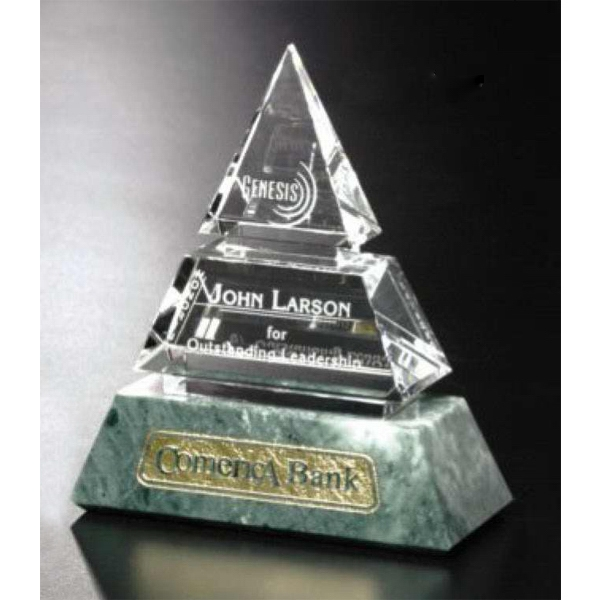 "Verde Gallery Vandalia - 5"" X 6"" X 2 1/4"" - Pyramid Shaped Award Made Of Marble And Crystal Photo"