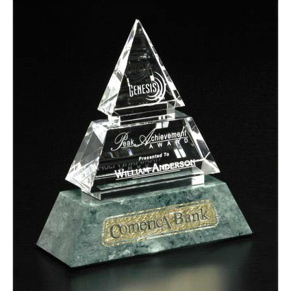 "Verde Gallery Vandalia - 6"" X 7"" X 2 1/4"" - Pyramid Shaped Award Made Of Marble And Crystal Photo"